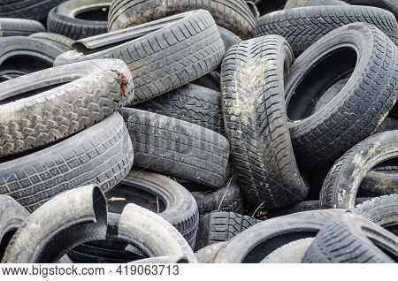 Novi Sad, Serbia - December 21. 2020: A Pile Of Damaged, Old, Discarded, Car Tires For Recycling