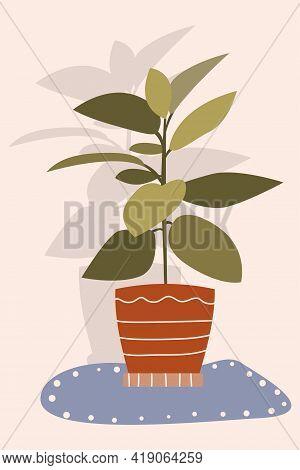 Indoor Plant In A Clay Pot. Vector Cartoon Illustration