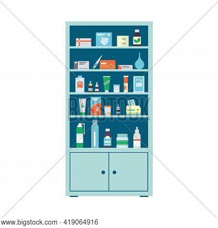 Pharmacy Cabinet Full Of Drugs, Pills And Bottles. Pharmacy Shelves. Medical Cabinet. Vector Illustr