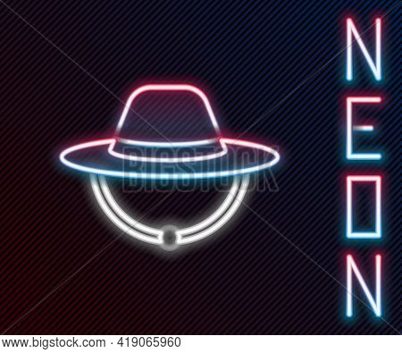 Glowing Neon Line Camping Hat Icon Isolated On Black Background. Beach Hat Panama. Explorer Traveler