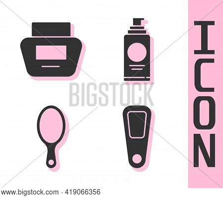 Set Hand Mirror, Cream Or Lotion Cosmetic Tube, Hand Mirror And Spray Can For Hairspray Icon. Vector