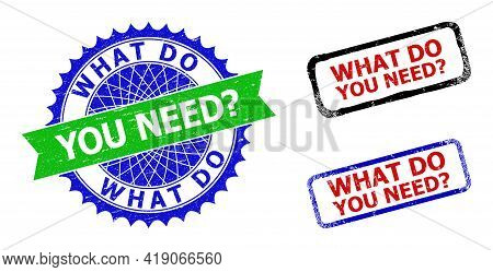 Bicolor What Do You Need Question Seal Stamps. Green And Blue What Do You Need Question Seal With Sh