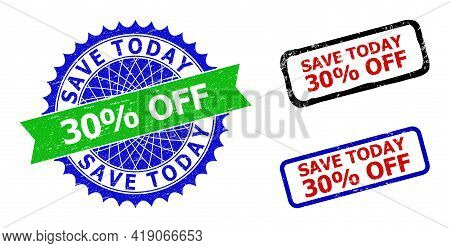 Bicolor Save Today 30 Percents Off Seal Stamps. Green And Blue Save Today 30 Percents Off Seal With