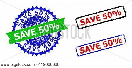 Bicolor Save 50 Percents Badges. Blue And Green Save 50 Percents Badge With Sharp Rosette And Ribbon