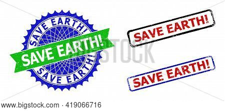 Bicolor Save Earth Exclamation. Seal Stamps. Green And Blue Save Earth Exclamation. Stamp With Sharp