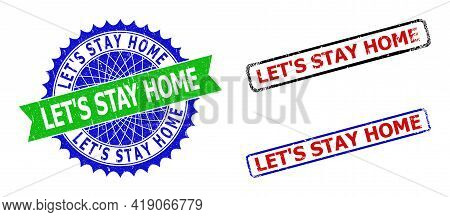 Bicolor Let S Stay Home Seal Stamps. Green And Blue Let S Stay Home Watermark With Sharp Rosette And