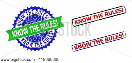 Bicolor Know The Rules Exclamation. Stamps. Blue And Green Know The Rules Exclamation. Seal With Sha