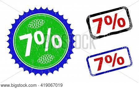 Bicolor 7 Percents Badges. Blue And Green 7 Percents Stamp With Sharp Rosette And Ribbon Elements. R