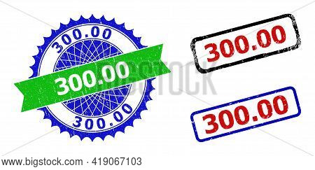 Bicolor 300.00 Badges. Green And Blue 300.00 Badge With Sharp Rosette And Ribbon Elements. Rounded R