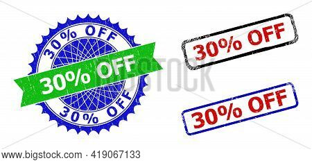 Bicolor 30 Percents Off Seal Stamps. Green And Blue 30 Percents Off Seal Stamp With Sharp Rosette An