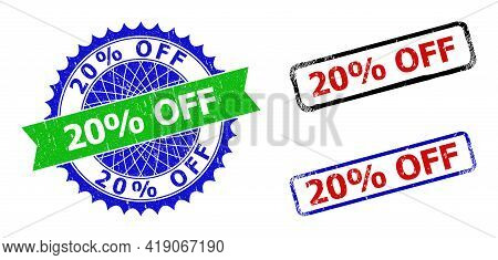 Bicolor 20 Percents Off Seal Stamps. Green And Blue 20 Percents Off Seal With Sharp Rosette And Ribb