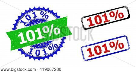 Bicolor 101 Percents Seal Stamps. Blue And Green 101 Percents Badge With Sharp Rosette And Ribbon De