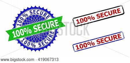 Bicolor 100 Percents Secure Stamps. Green And Blue 100 Percents Secure Seal Stamp With Sharp Rosette