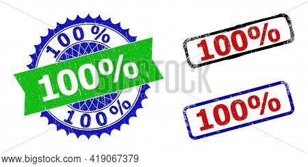 Bicolor 100 Percents Seal Stamps. Blue And Green 100 Percents Seal Stamp With Sharp Rosette And Ribb