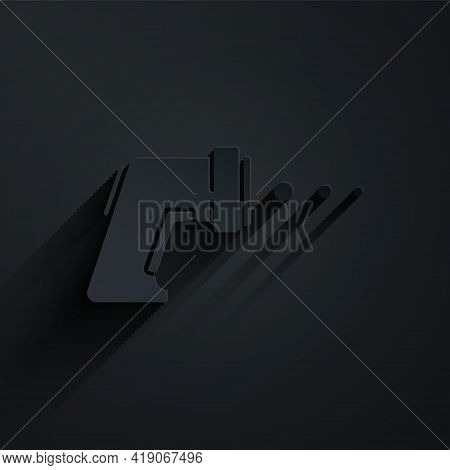 Paper Cut Digital Contactless Thermometer With Infrared Light Icon Isolated On Black Background. Pap
