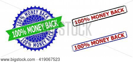 Bicolor 100 Percents Money Back Seal Stamps. Green And Blue 100 Percents Money Back Seal With Sharp
