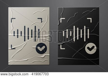 White Voice Recognition Icon Isolated On Crumpled Paper Background. Voice Biometric Access Authentic