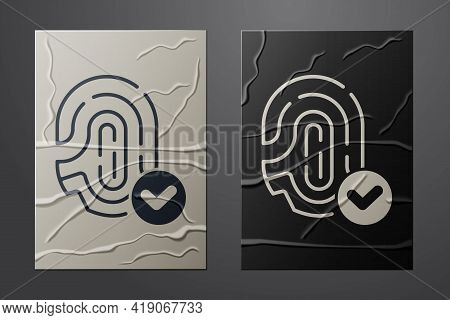 White Fingerprint With Check Mark Icon Isolated On Crumpled Paper Background. Id App Icon. Identific