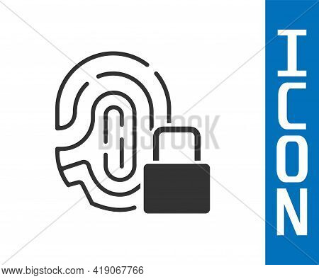Grey Fingerprint With Lock Icon Isolated On White Background. Id App Icon. Identification Sign. Touc