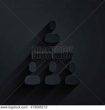 Paper Cut Business Hierarchy Organogram Chart Infographics Icon Isolated On Black Background. Corpor