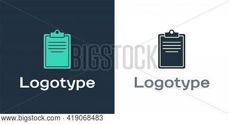 Logotype Clipboard With Checklist Icon Isolated On White Background. Control List Symbol. Survey Pol