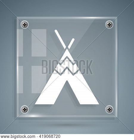 White Traditional Indian Teepee Or Wigwam Icon Isolated On Grey Background. Indian Tent. Square Glas
