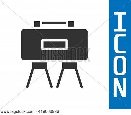 Grey Military Mine Icon Isolated On White Background. Claymore Mine Explosive Device. Anti Personnel