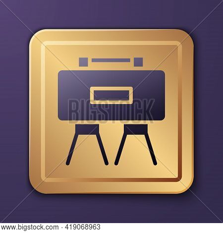Purple Military Mine Icon Isolated On Purple Background. Claymore Mine Explosive Device. Anti Person