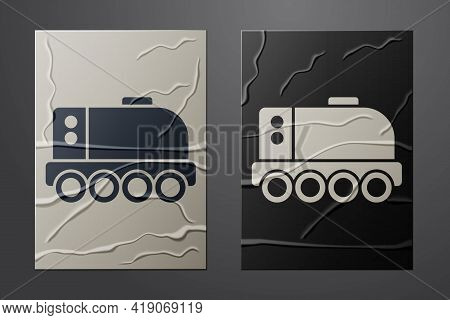 White Mars Rover Icon Isolated On Crumpled Paper Background. Space Rover. Moonwalker Sign. Apparatus