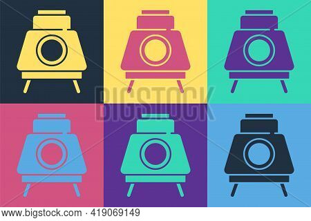 Pop Art Mars Rover Icon Isolated On Color Background. Space Rover. Moonwalker Sign. Apparatus For St
