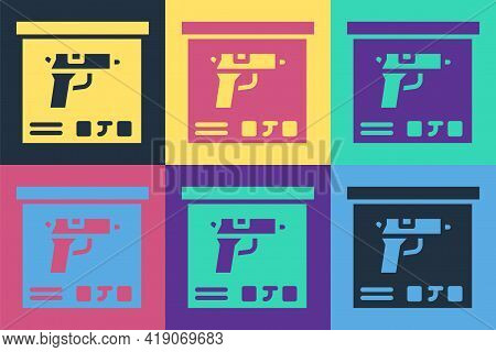 Pop Art Military Ammunition Box With Some Ammo Bullets Icon Isolated On Color Background. Vector