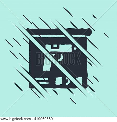 Black Military Ammunition Box With Some Ammo Bullets Icon Isolated On Green Background. Glitch Style