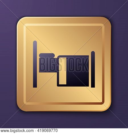 Purple Hospital Bed Icon Isolated On Purple Background. Gold Square Button. Vector