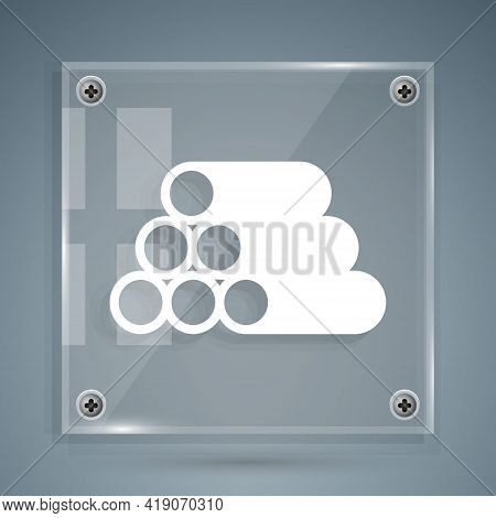 White Wooden Logs Icon Isolated On Grey Background. Stack Of Firewood. Square Glass Panels. Vector