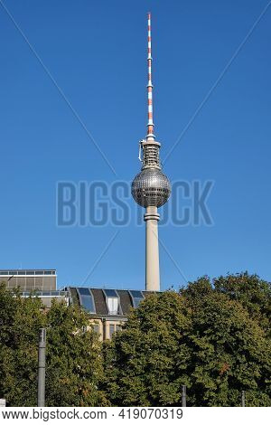 The Fernsehturm, Berlins Highest Building, With A Clear Blue Sky