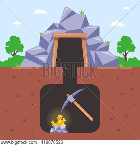 Mining Gold In A Mine Underground. Flat Vector Illustration.