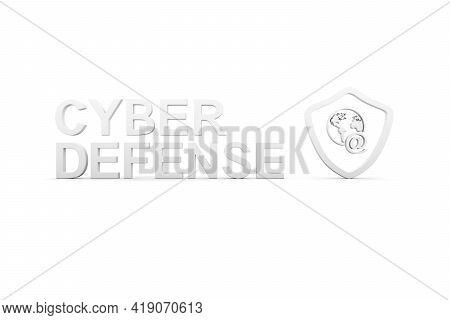 Cyber Defense Concept White Background 3d Render Illustration