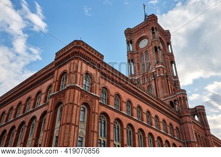 The Famous Rotes Rathaus, The Town Hall Of Berlin In Germany