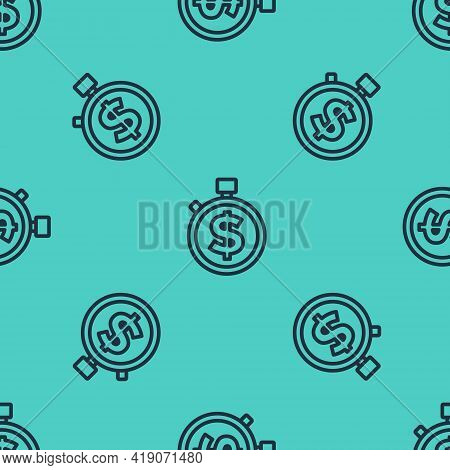 Black Line Time Is Money Icon Isolated Seamless Pattern On Green Background. Money Is Time. Effectiv
