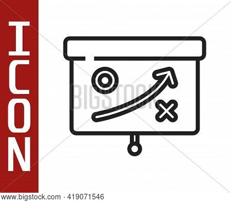 Black Line Planning Strategy Concept Icon Isolated On White Background. Cup Formation And Tactic. Ve