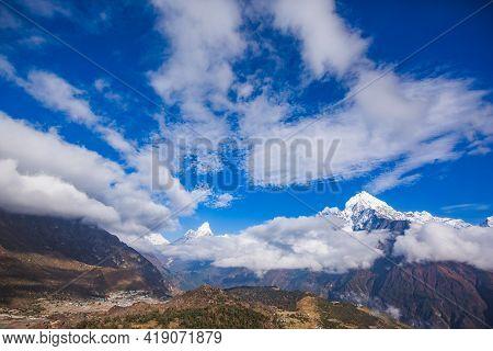 Himalaya Mountains. Nepal Landscape, Sagarmatha National Park