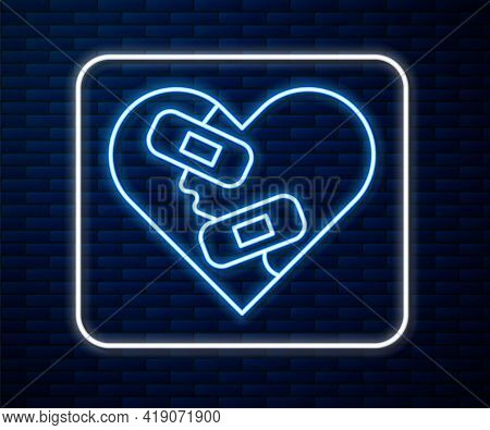 Glowing Neon Line Healed Broken Heart Or Divorce Icon Isolated On Brick Wall Background. Shattered A