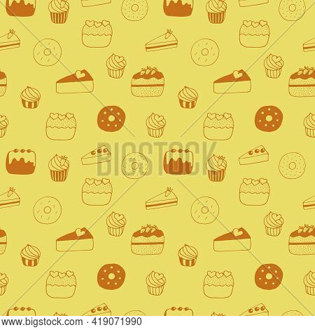 Seamless Pattern Cakes Cupcakes Cheesecakes Donuts And Cakes Vector Illustration Hand Drawn Doodle Y