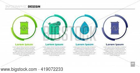 Set Barrel Oil, Eco Fuel Canister, Oil Drop With Dollar And Barrel Oil With Dollar. Business Infogra