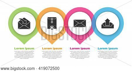 Set Envelope, Delete Envelope, Envelope And Upload Inbox. Business Infographic Template. Vector
