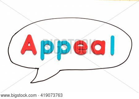 Alphabet Letter With Word Appeal In Black Line Hand Drawing As Bubble Speech On White Board Backgrou
