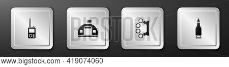 Set Walkie Talkie, Military Barracks, Brass Knuckles And Bullet Icon. Silver Square Button. Vector