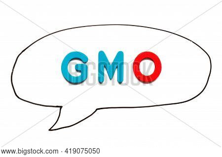 Alphabet Letter With Word Gmo (abbreviation Of Genetically Modified Organisms) In Black Line Hand Dr
