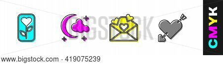 Set Flower Rose, Moon And Stars, Envelope With Valentine Heart And Amour Arrow Icon. Vector