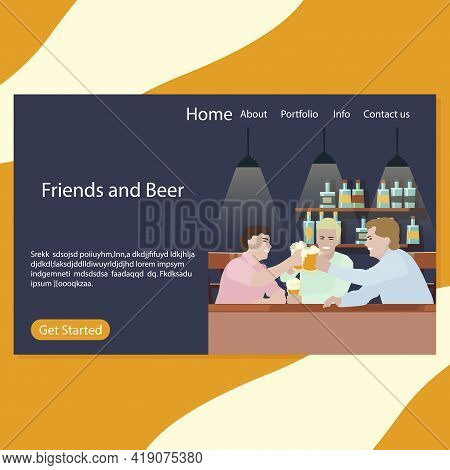 Friends And Beer Landing Page Pub. Illustration Beer Party, Friday Together Drinking, Drink And Chee